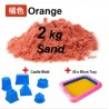 Kids Station - 2kg Motion Moving Kinetic Play Sand - Orange with Inflatable Sand Tray and Sand Mold