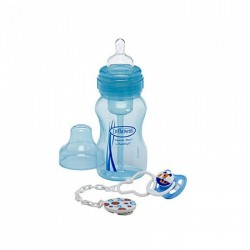 Dr Brown 8oz WN Bottle + Soother & Clip Gift Set - Blue