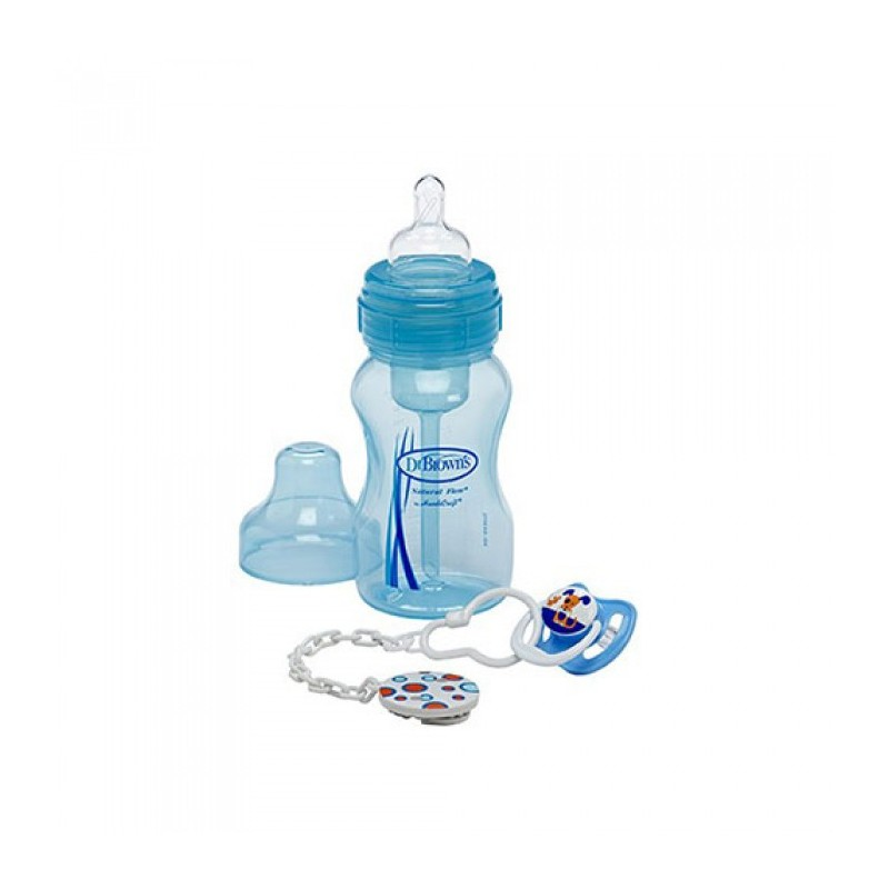 Dr Brown 8oz Wn Bottle Soother Amp Clip Gift Set Blue