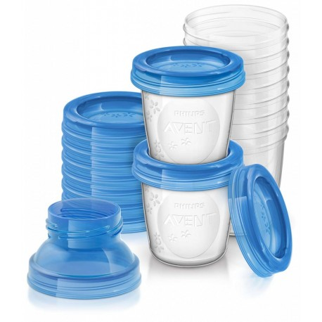 Philips AVENT Reusable Breast Milk Storage Cups (10 cups)10X180ML