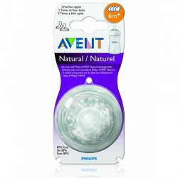 Philips Avent Natural Fast Flow Teat 6m+ (4 Hole) Twin Pack