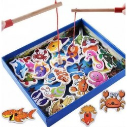 BabeSteps Wooden Magnetic Puzzle Board Children Fishing Toys Set - B443