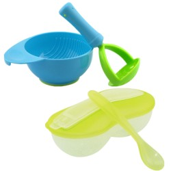 Little B House New Peanut Shape Feeding Bowl With Spoon Cum Baby Food Fruits Supplement Grinding Tool & Bowl (Green + Blue)