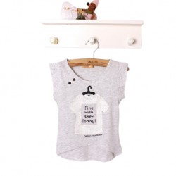 Kimi Mommy Toddler Irregular Hem Stylish Printed Sleeveless T-shirt