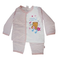Pigeon BB Basic Girl Long Sleeve Vest with Long Pants Suit (Pink)