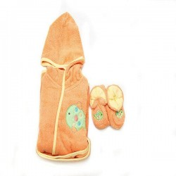 OWEN Baby Bathrobe and Booties Set (ORANGE)