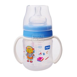 Japlo Deluxe 130Ml Feeding Bottle Blue (With Handle)- With 1 Silicone Nipple