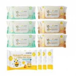 K-Mom Nature Free Organic Premium Wet Wipes (100s x 6 Packs) - Free 10pcs Wet Tissue 4 Packs