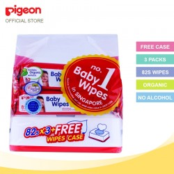Pigeon 11776 Baby Wipes Cham Ros 82´s(3 packs) + FOC Wipes Case