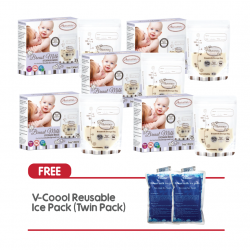 Autumnz Double ZipLock Breastmilk Storage Bag 5oz (5 Packs) + Free V-Coool Reusable Ice Pack (Twin Pack)