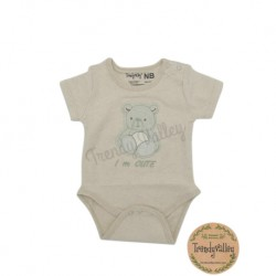 TRENDYVALLEY-[PREMIUM] Organic Cotton Rompers Short Sleeve Baby Shirt (Bear)