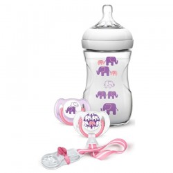 Philips Avent Elephant Gift Set (Girl) Natural 9oz/260ml Slow Flow Nipple