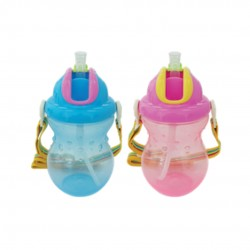 Little Bean 270ml / 9oz Drinking Cup with Belt (Pink & Blue)