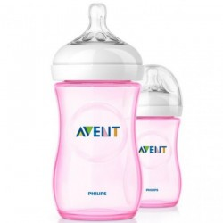 Philips Avent Natural Bottle 9oz/260ml (Pink) Twin Pack
