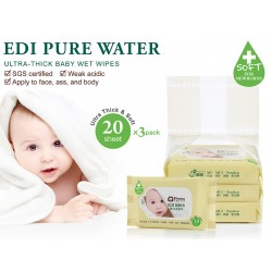 Simba Edi Pure Water Ultra-Thick Baby Wet Wipes (20 Sheets x 3 Packs)