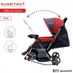Sweet Heart Paris Aluminium 2IN1 Stroller + Rocker Cradle ST230 (Red) Bundle with Mosquito Net and Reversible Handlebar