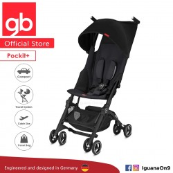 gb Pockit Plus Stroller (SATIN BLACK) - World Lightweight Cabin Size Stroller with Reclining Seat