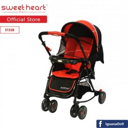 Sweet Heart Paris 2IN1 Stroller + Rocker Cradle ST338 with Reversible Handlebar (Red Black)\''