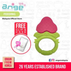 Korea Ange Strawberry Teething Ring with Soft BPA Free Silicone, Clip  and  Case