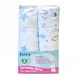 FIFFY Soft & Ventilated Baby Swaddle (2pcs pack) - 98-282