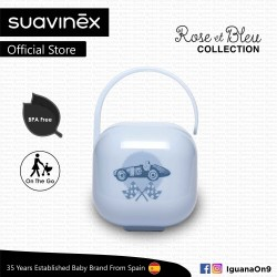 'Suavinex Rose and Blue Collection BPA Free Soother Pacifier Holder Box (Blue)'
