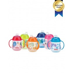 "Nuby 1Pk Designer Series ""Pinpoint"" 2 Handle 9Oz/270Ml Clik-It Trainer Cup With Pp Cover Spout Cup"