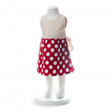 BABY STYLE ASIA BABY GIRLS SUMMER STYLE RIBBON RED POLKA DOT DRESS