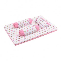 Babylove Premium 4 in 1 Foam Mattress Set + Pillow & Bolsters (Yummy Cupcake)