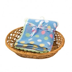 Babylove 100% Cotton Precious Knitted Blanket (100cm x 80cm) - Blue