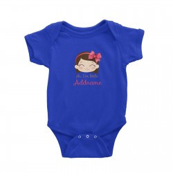 Babywears.my Cute Girl with Pink Bow Hi I Am Little Addname T-Shirt Personalizable Designs For Girls