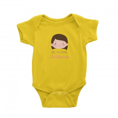 Babywears.my Cute Girl with Curly Hair Hi I Am Little Addname T-Shirt Personalizable Designs For Girls