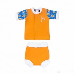 Cheekaaboo Huggiesbabes Suit-Orange/Sea Turtle