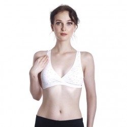 'Fabulous Mom Summertz Nursing Sleep Bra with Removable Padding (White Stars)'
