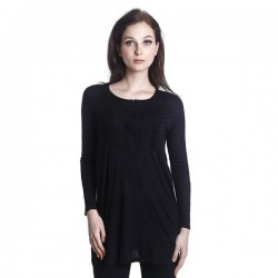 'Fabulous Mom Laila Front Zipper Nursing Blouse (Black)'