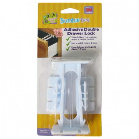 Bumble Bee Baby Safe Adhesive Double Drawer Lock Twin Pack