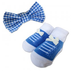 Bumble Bee Baby Bow Tie with Socks Set (Blue Checkered) (XLA0026)
