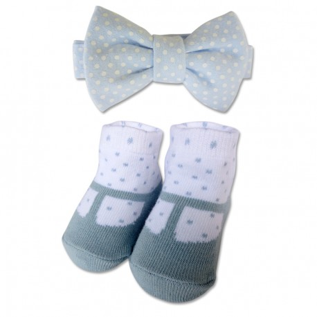 Bumble Bee Baby Bow Tie with Socks Set (Polka Blue)
