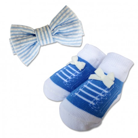 Bumble Bee Baby Bow Tie with Socks Set (Sky Blue)