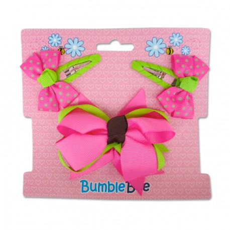 Bumble Bee Hair Clips Set (Shocking Pink)