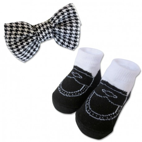 Bumble Bee Baby Bow Tie with Socks Set (Black)