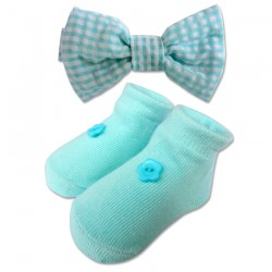 Bumble Bee Baby Bow Tie with Socks Set (Teal) (XLA0028)