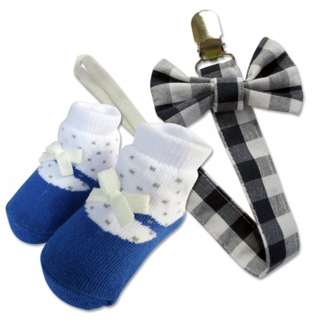Bumble Bee Baby Pacifier Clip with Socks Set (Blue Checkered)