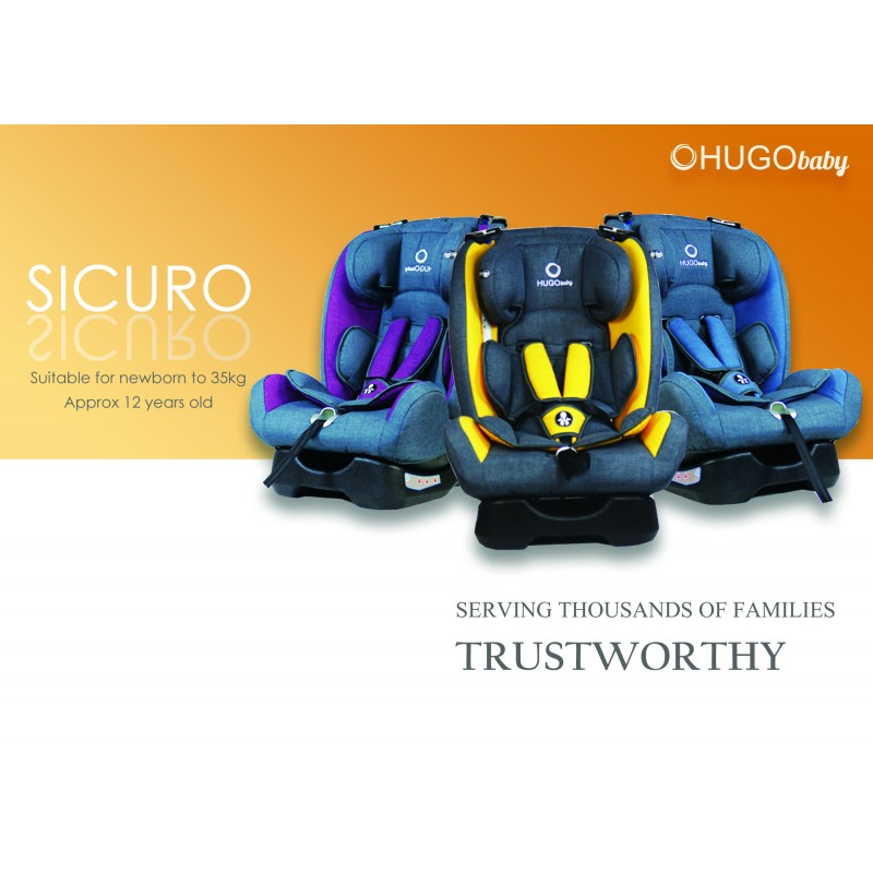 HUGO Baby Sicuro Reclining Car Seat Group 0 To 3 PURPLE Loading Zoom