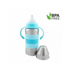 Haakaa 270ml Standard Neck Stainless Steel Thermal Baby Bottle (Blue)