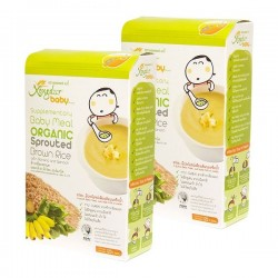 Xongdur Organic Sprouted Brown Rice with Banana and Spinach   (6 sachets x 20 g x 2 boxes)