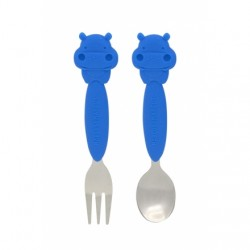 Marcus & Marcus Toddler Spoon & Fork Set (Blue Lucas)