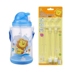 Simba Pop-up Water Bottle (650ml) c/w Replacement Straw Set - Blue
