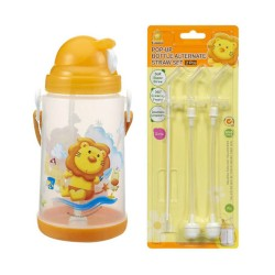 Simba Pop-up Water Bottle (650ml) c/w Replacement Straw Set - Orange
