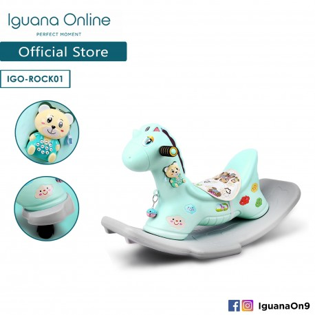 Iguana Online 2 in 1 Unicorn Rocker and Ride On Car with Music