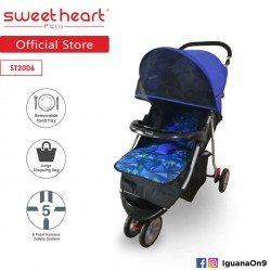 Sweet Heart Paris Stroller ST2006 (Blue) with Large Shopping Basket